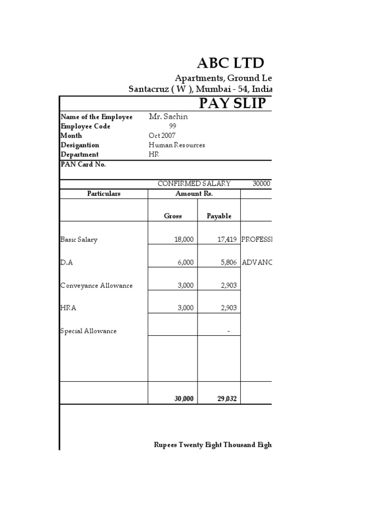 salary payslip format in word – Employee Payslip Format