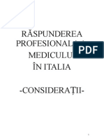 Raspunderea profesionala a medicului in Italia - Tatiana Tudurache