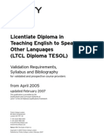 TESOL LTCL Diploma Document VRs- Updated 2006