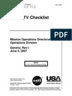 NASA Space Shuttle Photo - TV Systems Checklist