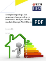 Energiebesparing Een Samenspel Van Woning en Bewoner Analy Se Van de Module Energie Woon 2012