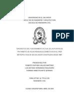 Diagnóstico del funcionamiento actual de las plantas de tratamiento de aguas residuales domésticas en el AMSS construidas desde 1990