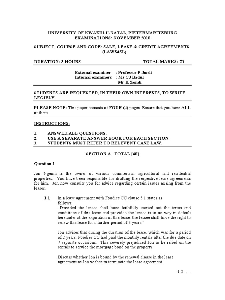 Sale Lease Credit Agreements 2010 Lease Business Law