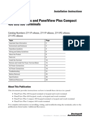 Panelview Plus And Panelview Plus Compact 400 And 600 Terminals