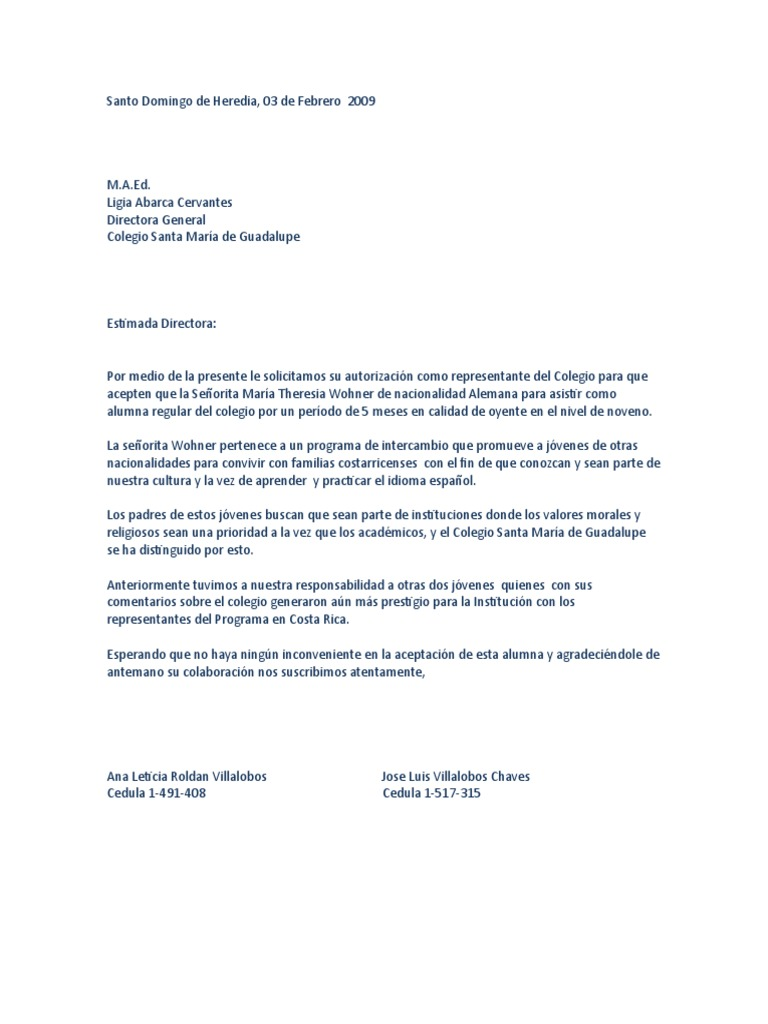 Carta de Solicitud Al Colegio