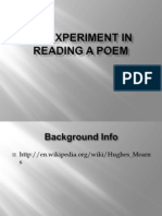 An Experiment in Reading a Poem