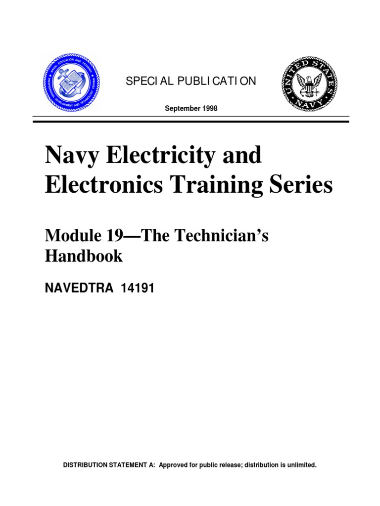 Electronics Vol 19 Technicians Handbook Electricity Basic Navy Training Courses