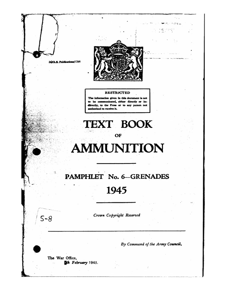 Text Book of Ammunition Pam 6 Grenades 1945