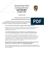 12-5-13 Advisory - LD-FRS-13-006 - Warranty and Replacement Parts of Firearms