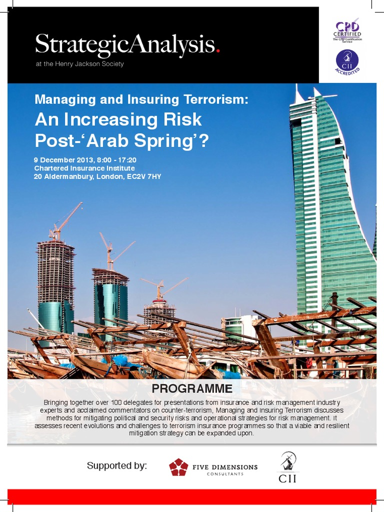 Managing And Insuring Terrorism Conference 2013 An Increasing Risk Post Arab Spring