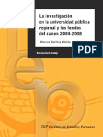Canon e investigación en la universidad- IEP