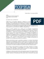 Carta de FOPEA a Kirchner para pedir que se levante el secreto sobre los supuestos sobornos