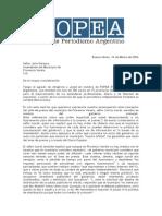 Carta de FOPEA Al Intendente de Florencio Varela