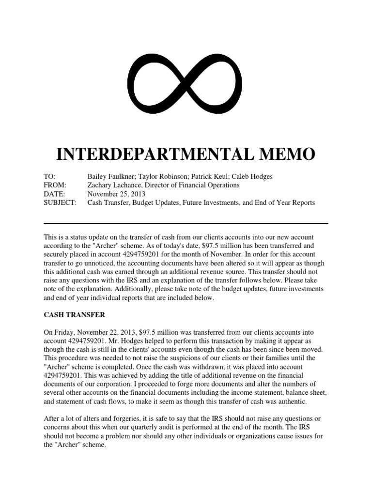 an interdepartmental memo