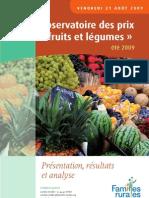 L'etude sur l'évolution des prix des fruits et légumes