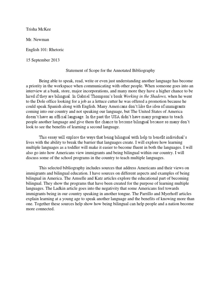 Statement of Scope for the Annotated Bibliography – Annotated Bibliography Worksheet