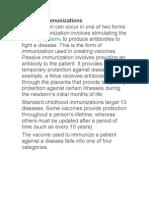 Types of Immunizations
