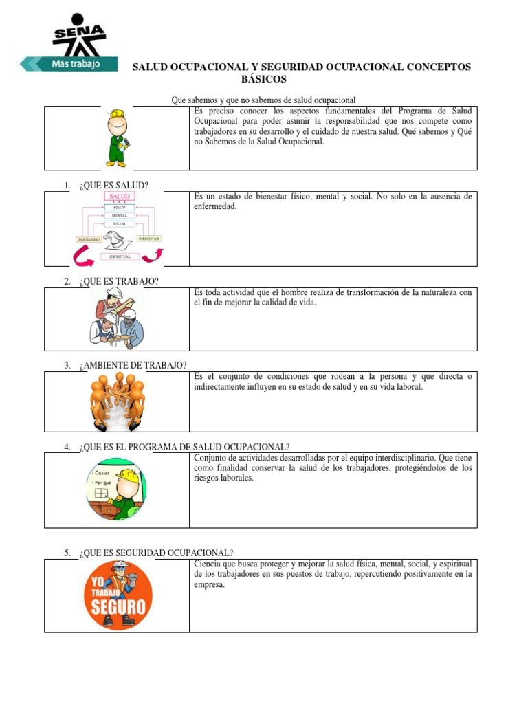 actividades de salud ocupacional para trabajadores