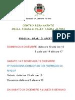 Centro Flora e Fauna Orari Dicembre