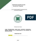 Ejemplo de Matriz de Consistencia Interna de Clima Organizacional