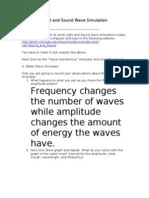 light sound wave simulations answers | Wavelength | Interference
