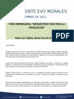 Discurso Del Presidente Morales en El Foro Empresarial Scz 05-12-13