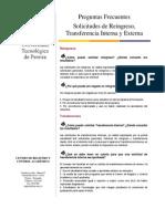 Solicitudes de Reingreso Transferencia Interna y Externa