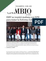 02-12-2013 Diario Matutino Cambio de Puebla - RMV se reunirá mañana con EPN para tratar la Reforma Educativa