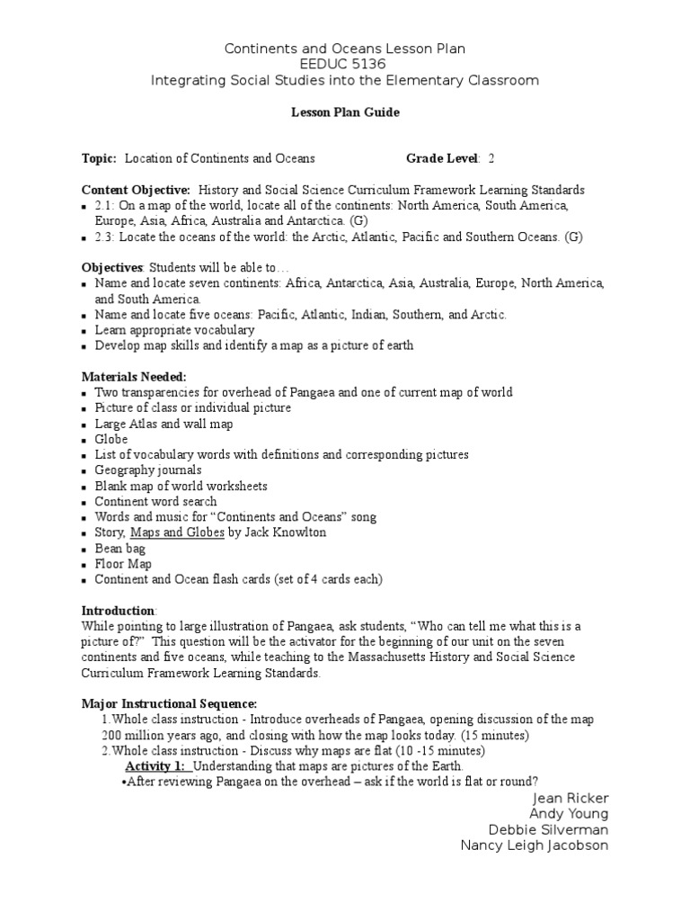 worksheet Continents And Oceans Worksheets continents and oceans lesson plan nancy j jean andyand debbie1 continent plan