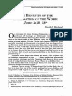 Benefits of Teh Incarnation in John 1!