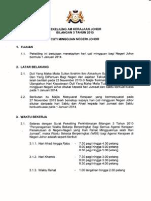 Pekeliling Am Kerajaannegeri Johor Bilangan 3 Tahun 2013 Cuti