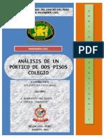 ANÁLISIS DE UN PÓRTICO DE DOS PISOS CON CUATRO VANOS - COLEGIO