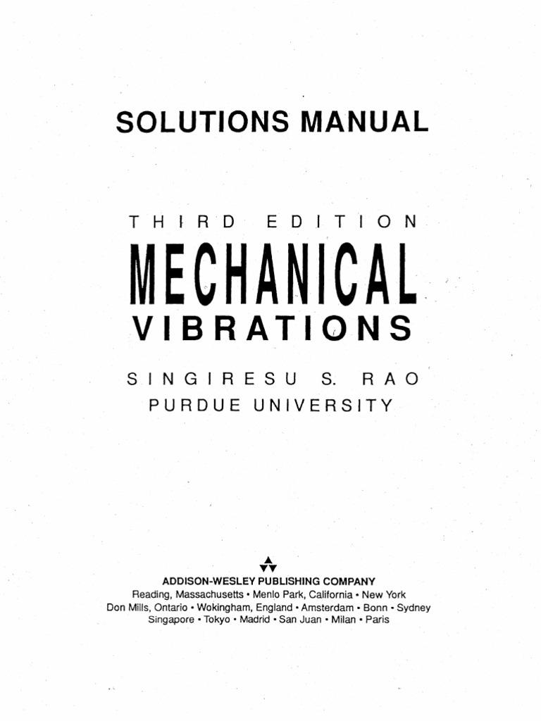 mechanical vibration 3rd edition ss rao solution manual rh scribd com Mechanical Vibrations Rao 5th Edition mechanical vibrations rao 4th solution manual pdf