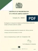 Rainbo Company Certificate