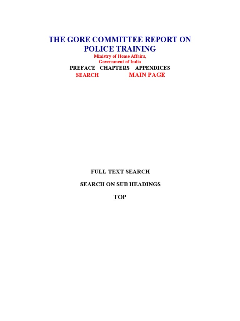 The gore committee report on police training inspector police fandeluxe Gallery