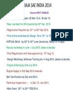 BAJA SAEINDIA 2014_Tentative Schedule