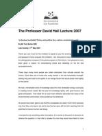David Hall Lecture 2007 Transcript