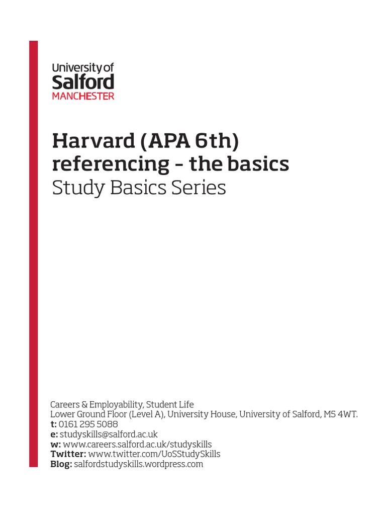 harvard apa 6th referencing the basics binder digital object
