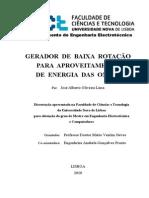 GERADOR DE BAIXA ROTAÇÃO  PARA APROVEITAMENTO  DE ENERGIA DAS ONDAS