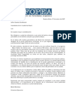 Carta de FOPEA al intendente de la Ciudad de Oberá