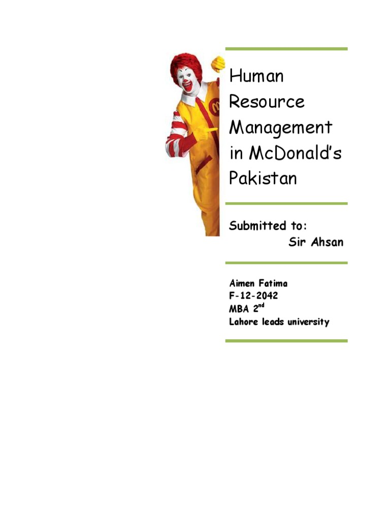HRM in Mcdonalds | Recruitment | Competence (Human Resources)