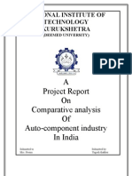Project Report on comparative analysis of auto component industry in India