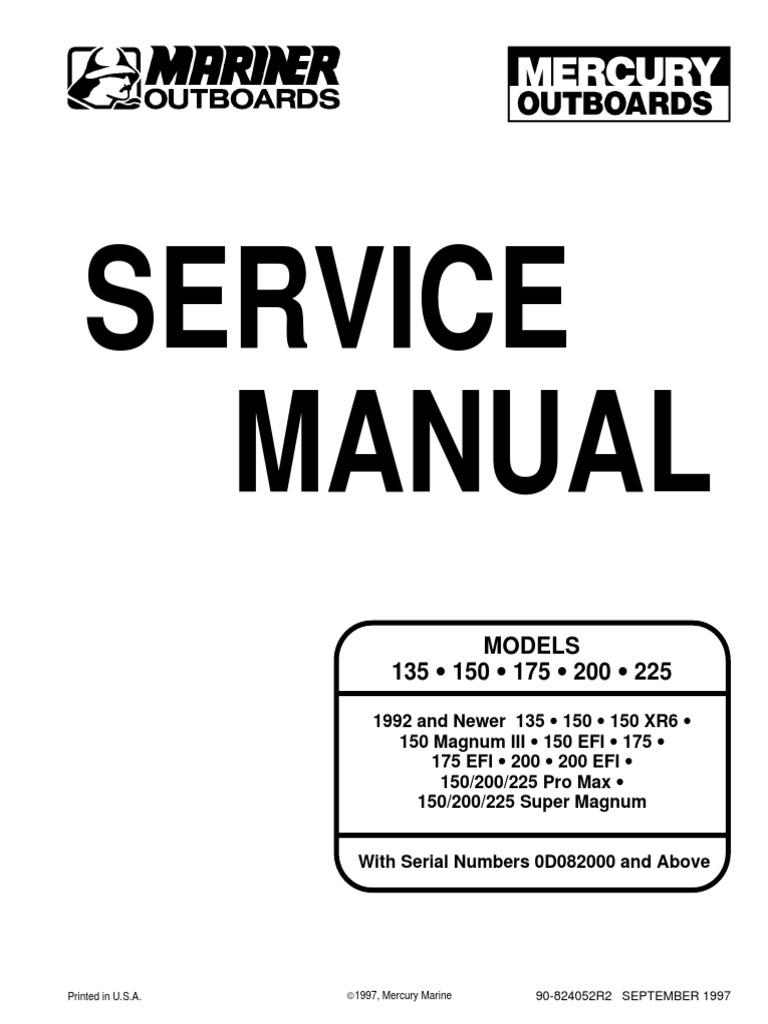 200 xri service manual internal combustion engine propeller rh es scribd com mercury 135 v6 service manual Mercury V6 4 Strokes
