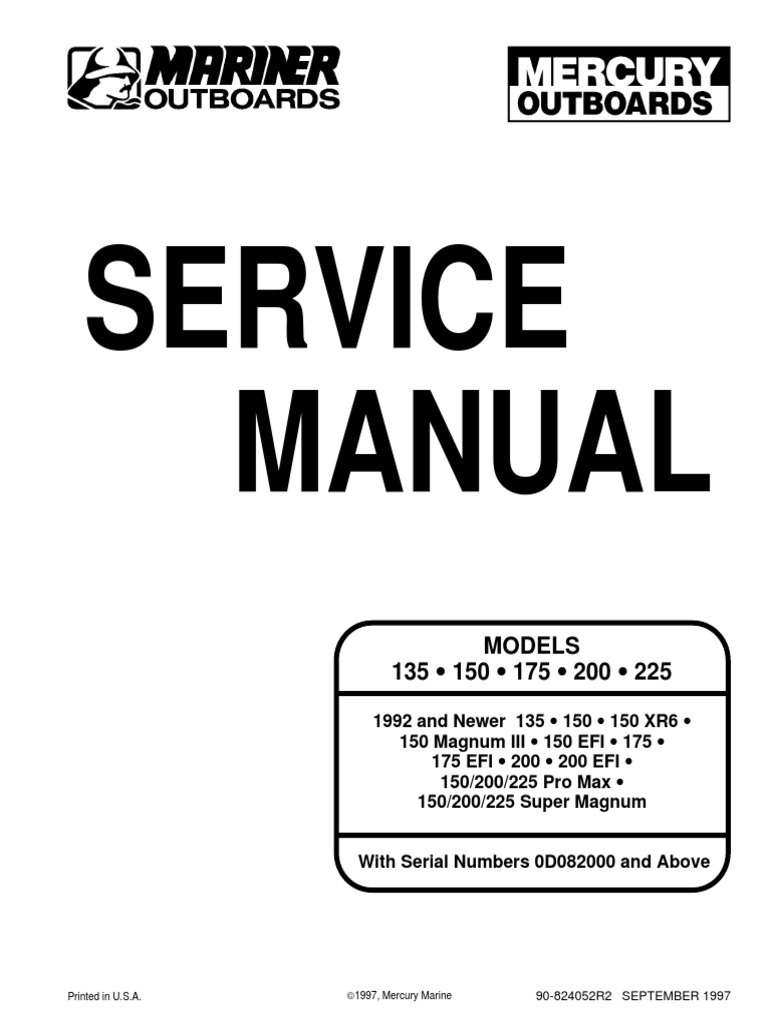 Mercury outboard 3. 9-135 hp repair & service manual 1964-1971.