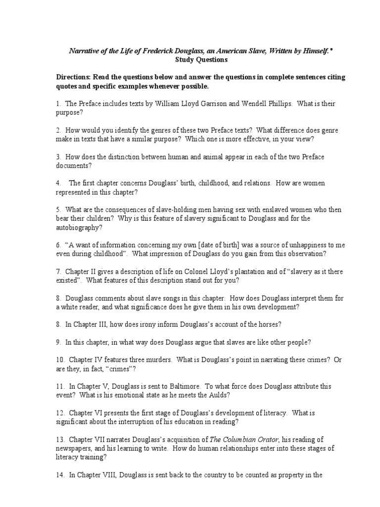 Narrative of the Life of Frederick Douglass Study Questions – Frederick Douglass Worksheets