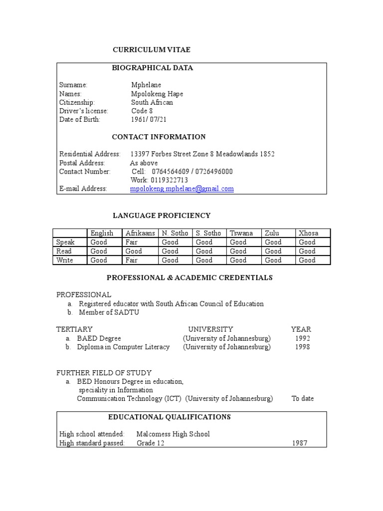 curriculum vitae of mpolokeng educational technology secondary school