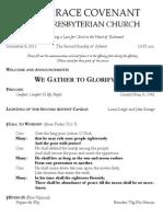 Worship Bulletin December 8, 2013