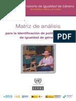 Cepal - Matriz de Analisis Politicas de Igualdad de Genero