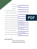 Winter CoursesWinter Courses U of C