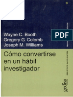 5 Como Convertirse en Un Habil Investigador Wayne Booth Gregory Colomb Joseph Williams